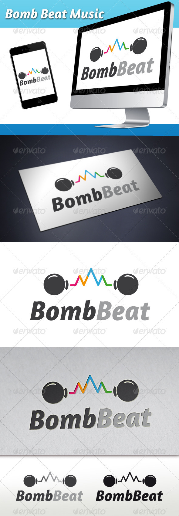 GraphicRiver Bomb Beat Music Wave Logo 3373458