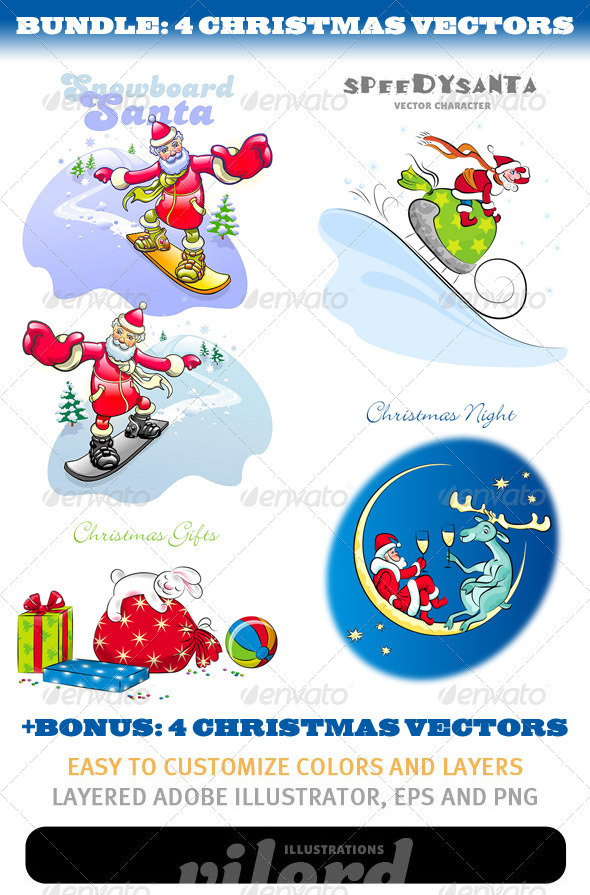GraphicRiver Christmas Mascots Bundle 3385612