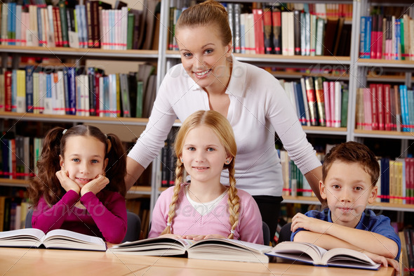 Teacher and schoolchildren - Stock Photo - Images