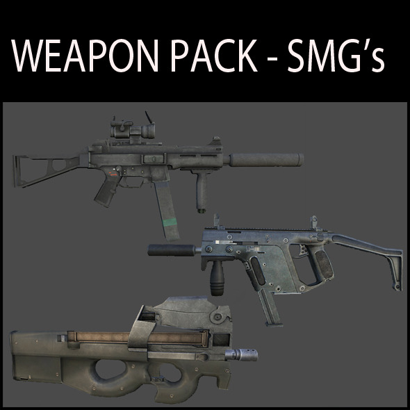 3DOcean Weapon Pack SMG s 3391158