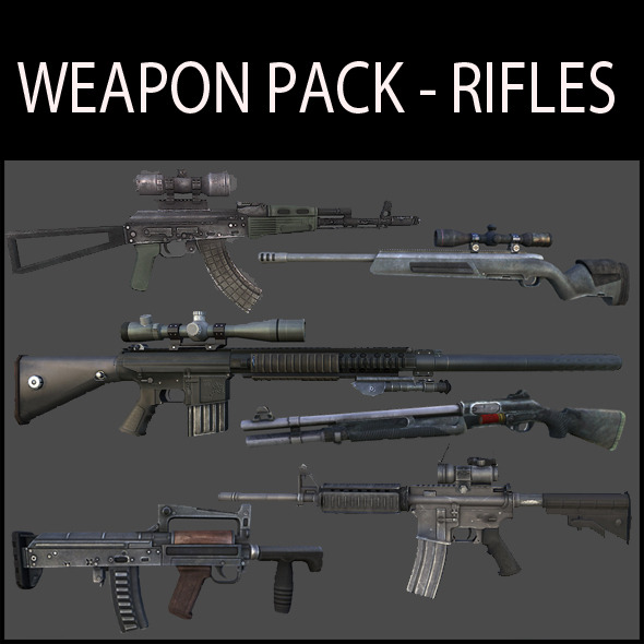 Weapon Pack - Rifles - 3DOcean Item for Sale