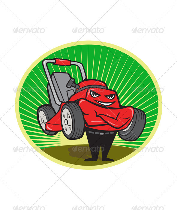 GraphicRiver Lawn Mower Man Cartoon Oval 3392259