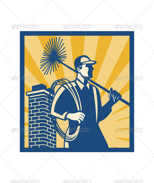 GraphicRiver Chimney Sweeper Cleaner Worker Retro 3392286
