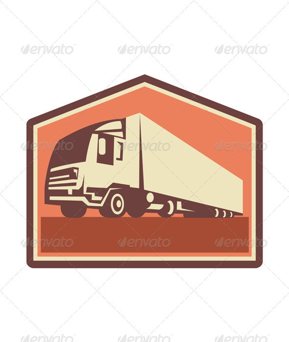 GraphicRiver Container Truck and Trailer Flames Retro 3392461