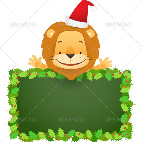 Lino the Lion and Christmas Banner - Characters Illustrations