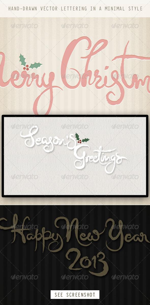 GraphicRiver Christmas & New Year Minimal Brush Calligraphy 3393771