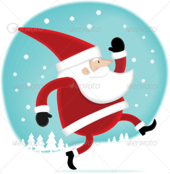 Santa Walking on the Snow - Characters Illustrations