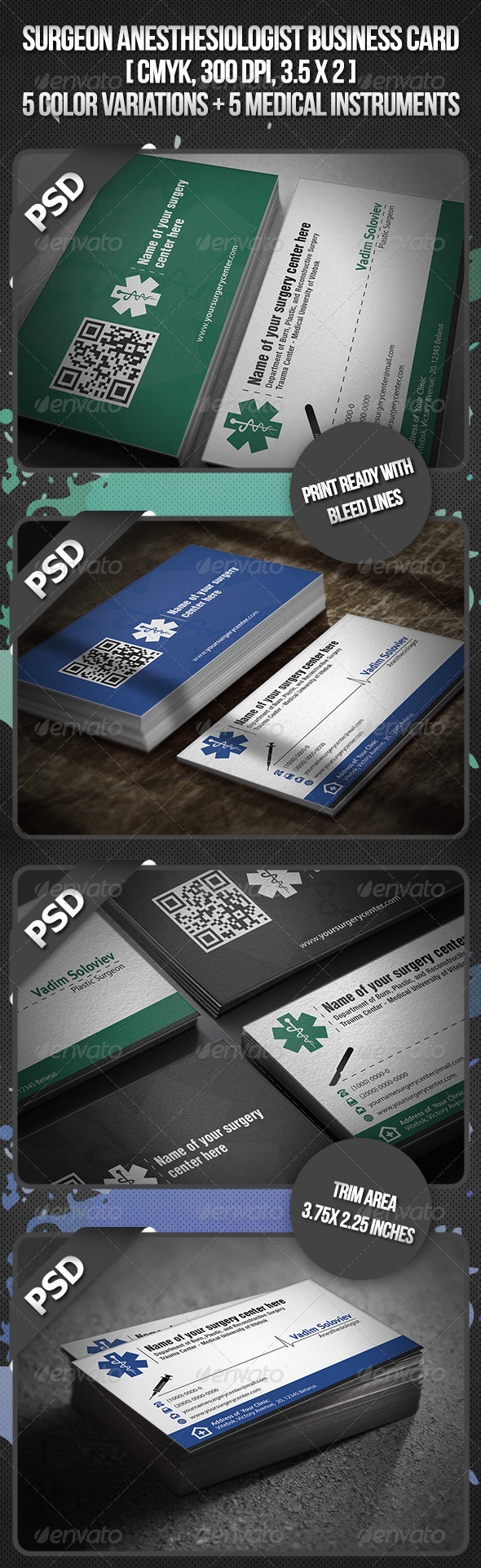 Surgeon Anesthesiologist Business Card - Industry Specific Business Cards