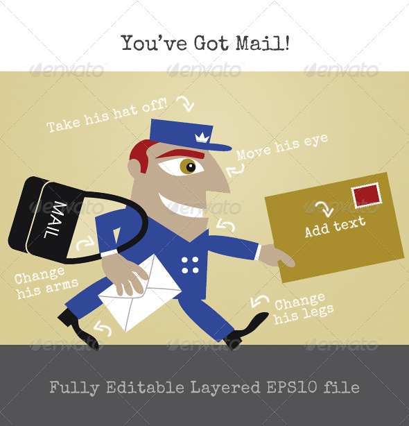 The Mailman or Postman Delivering the Letters - People Characters
