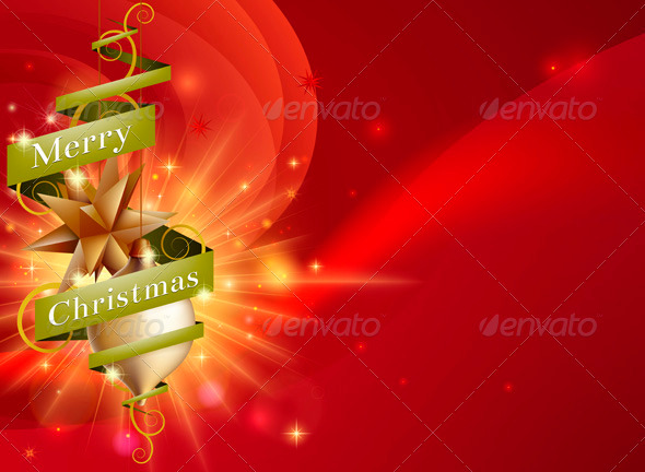Merry Christmas Red Ribbon Background - Christmas Seasons/Holidays