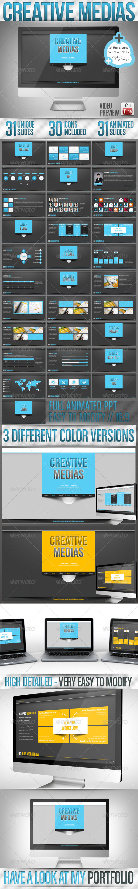 GraphicRiver Creative Media Powerpoint Dark & Light Full HD 3396500