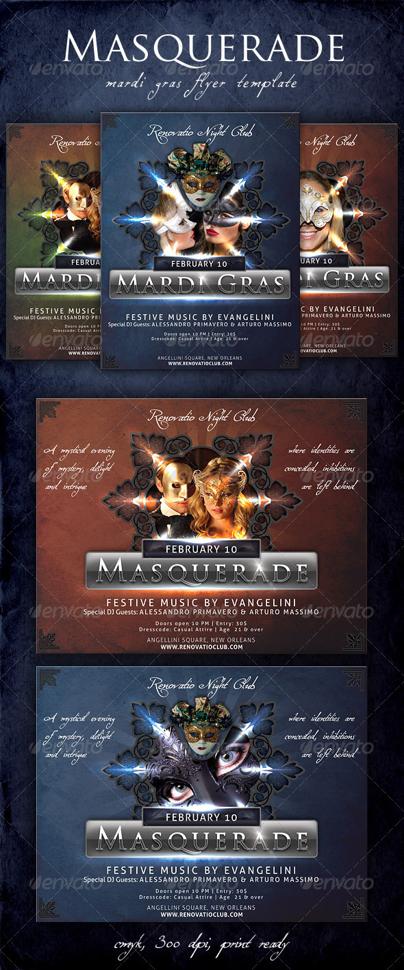 Masquerade - Mardi Gras Flyer Template - Holidays Events