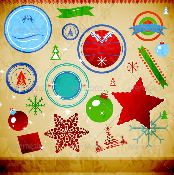 GraphicRiver Vector Grunge Christmas Symbols 3400233