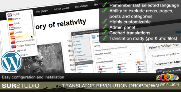 ory relativitY Rememe, last selected language Ability exclude areas, pages, posts and categori Highly torn izable Admin panel Cachecj trangIatj Translation ready.mo Primaly Easy figurstion end installation RSTUDIO TRANSLATOR REVOLUTION DROPDOWN PLUGIN