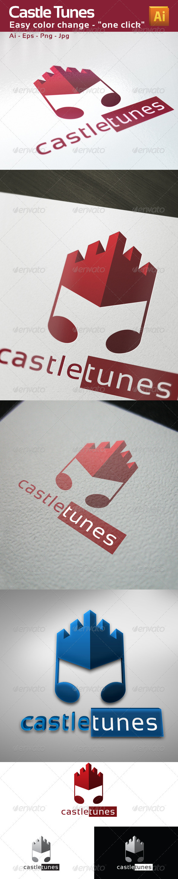 GraphicRiver Castle Tunes Music Logo Template 3401145