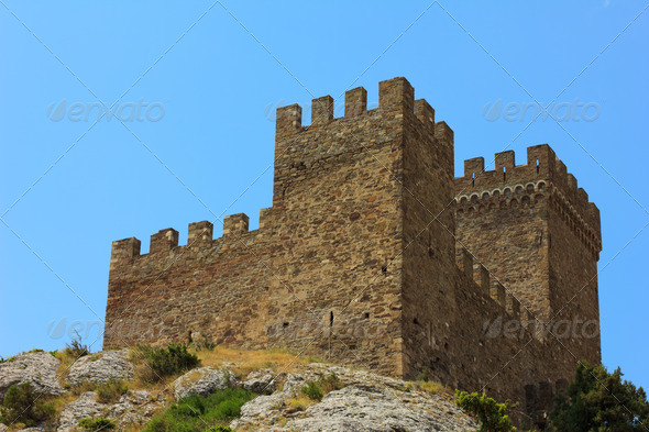 ancient stone defensive tower - Stock Photo - Images