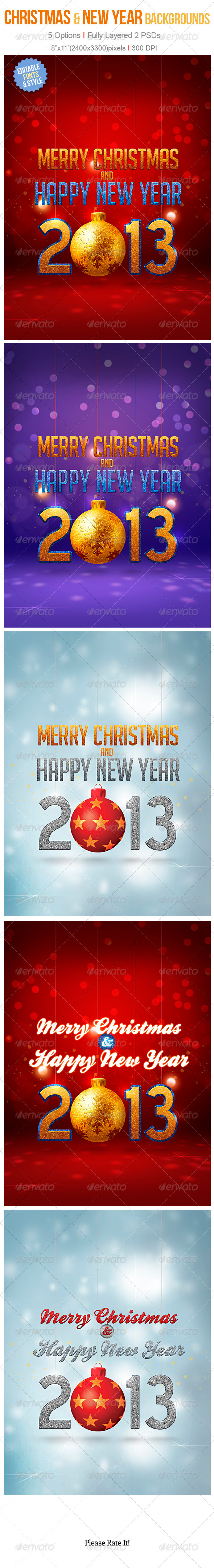 GraphicRiver Christmas & New Year Backgrounds