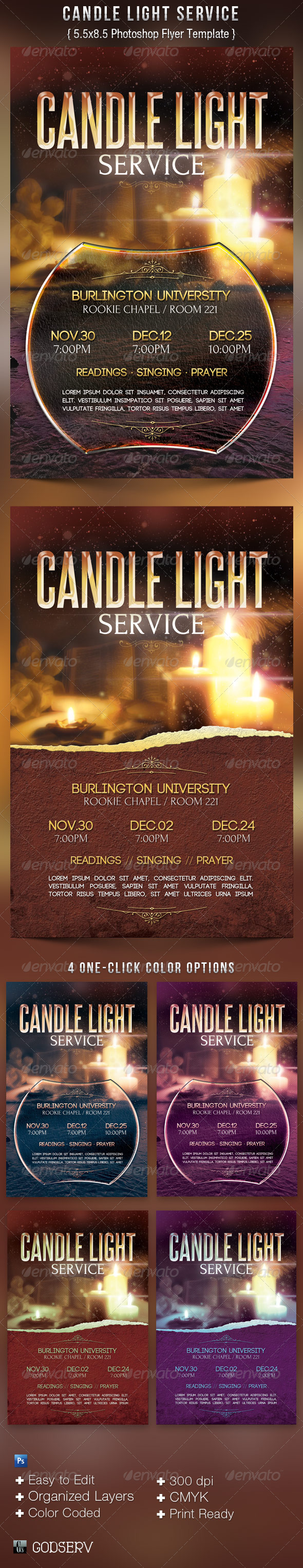 Candle Light Service  Flyer Templates - Church Flyers