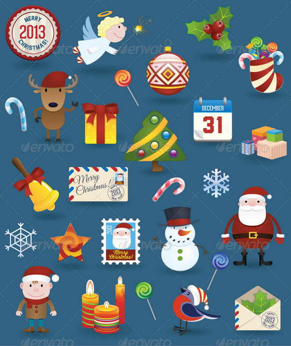 GraphicRiver Christmas Icons Set 3403878