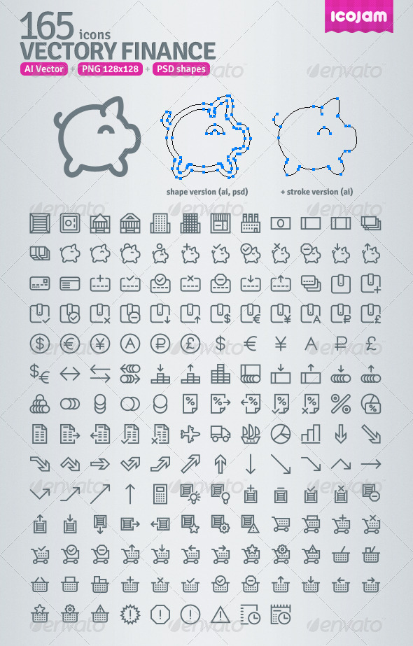165 AI and PSD Finance Outline Icons - Web Icons