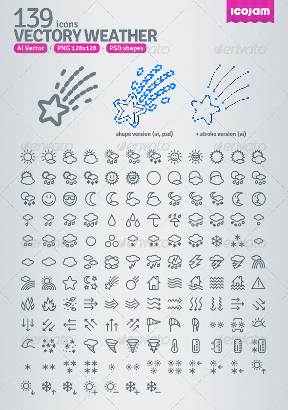 139 AI and PSD Weather Outline Icons - Web Icons