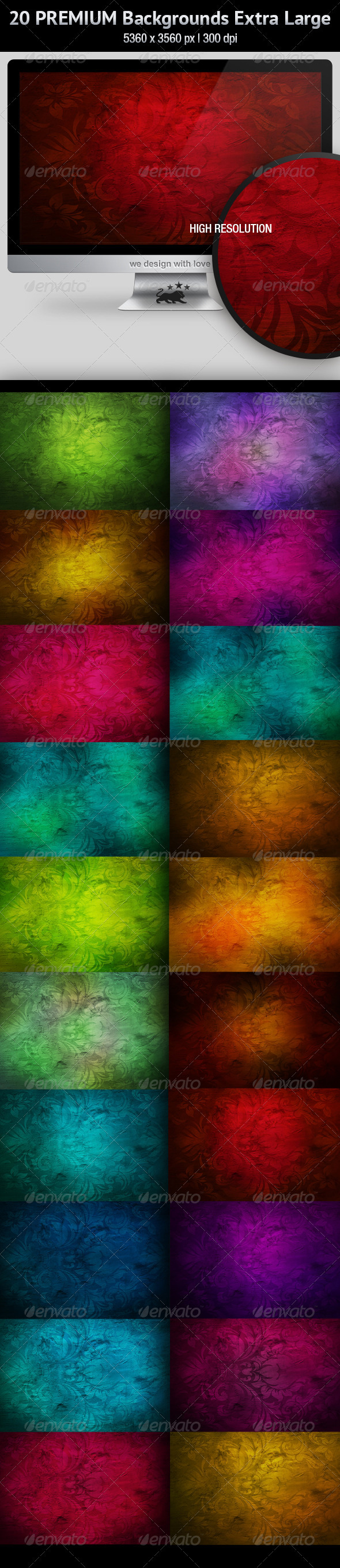 20 Premium Backgrounds · High Resolution - Abstract Backgrounds