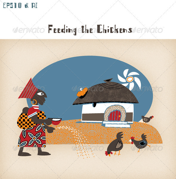 GraphicRiver African Hut with Woman Chickens & Sunshine 3406262