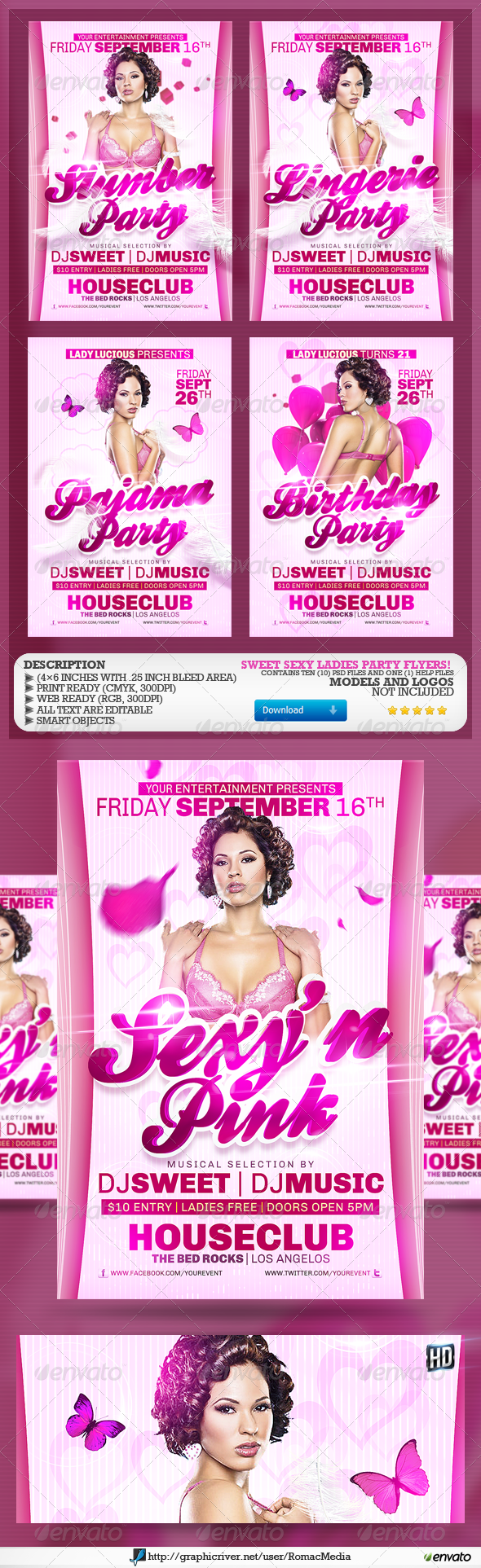 Ladies Party Flyers - Clubs & Parties Events