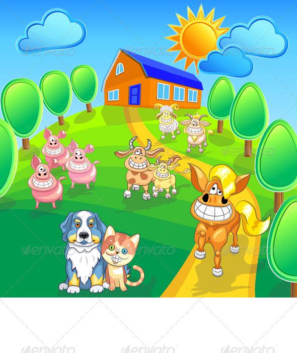 GraphicRiver Vector Set Funny Cartoon Farm Animals 3407126