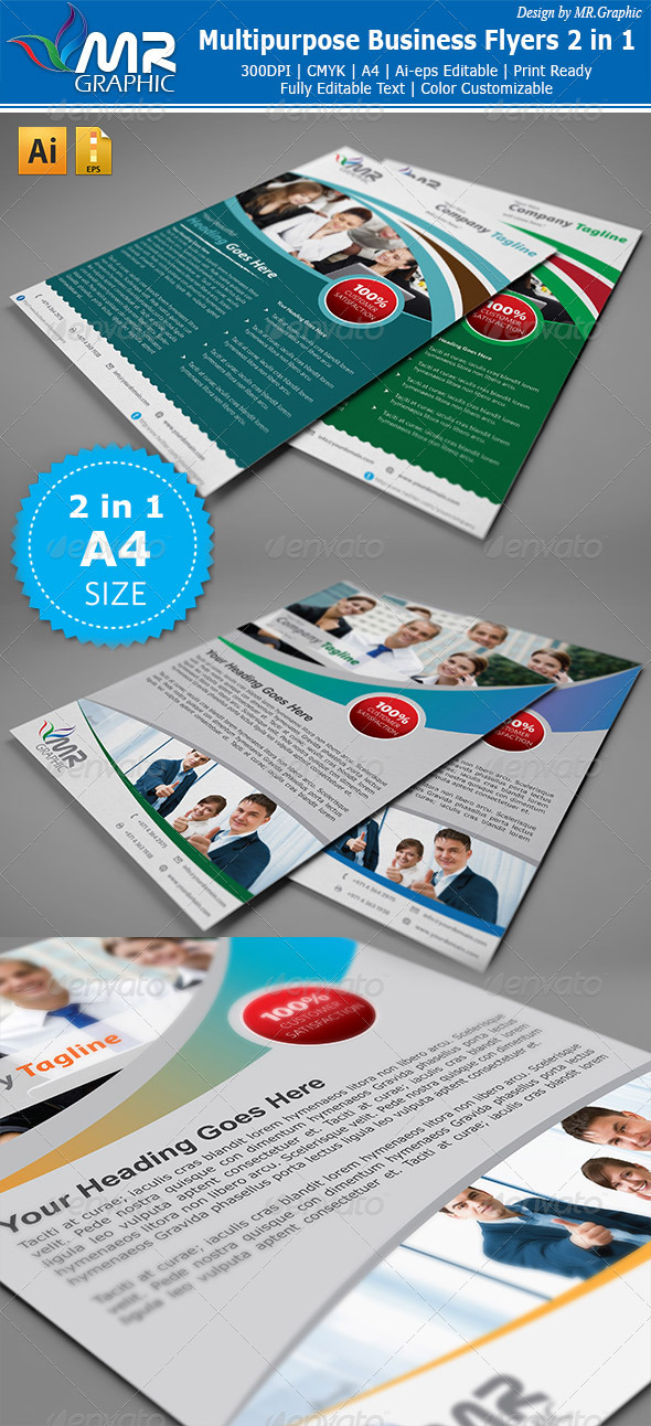 GraphicRiver Multipurpose Business Flyer 2 in 1 3327329