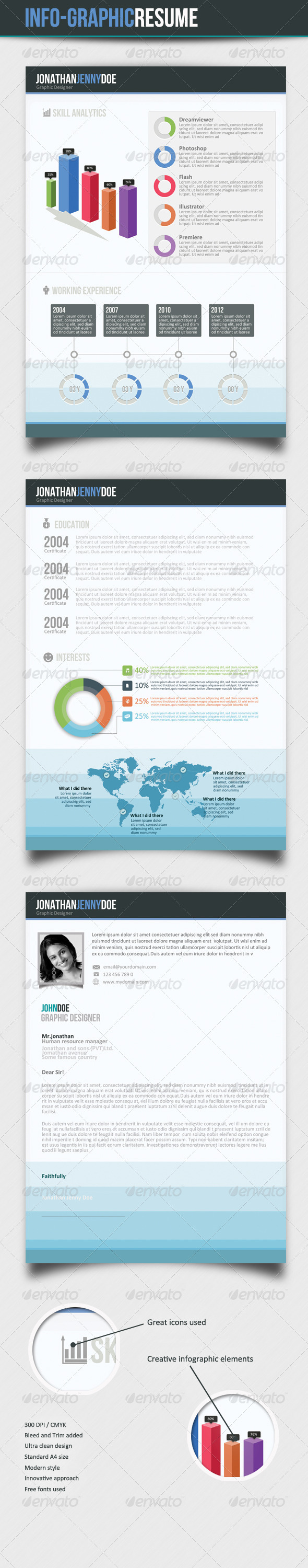GraphicRiver Infographic 3Page Resume 3388153