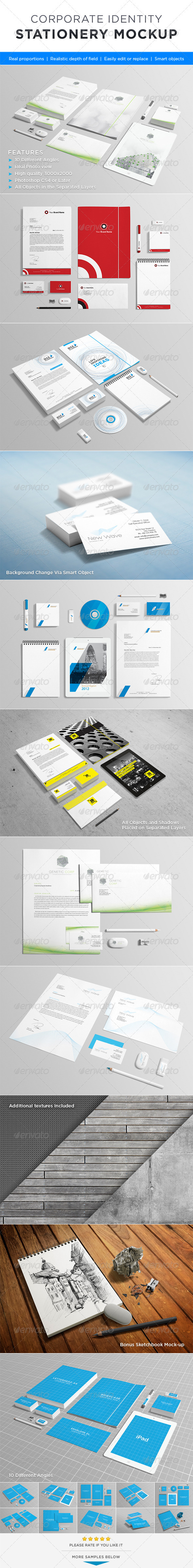 GraphicRiver Photorealistic Stationery Mock-up 3409831