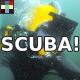 Scuba Underwater Diver Breathing