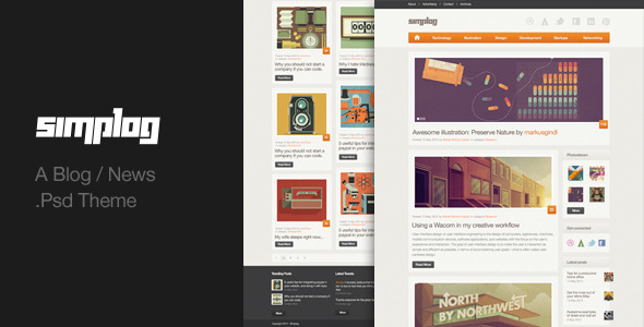 Simplog - A Blog / News .PSD theme