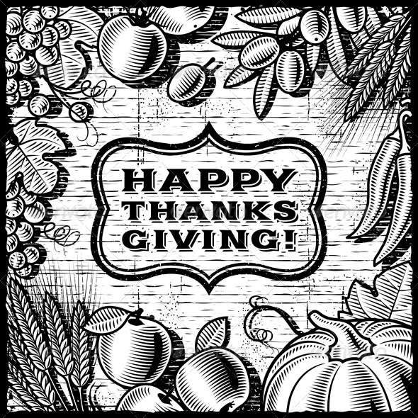 GraphicRiver Thanksgiving Retro Card Black And White 3411229