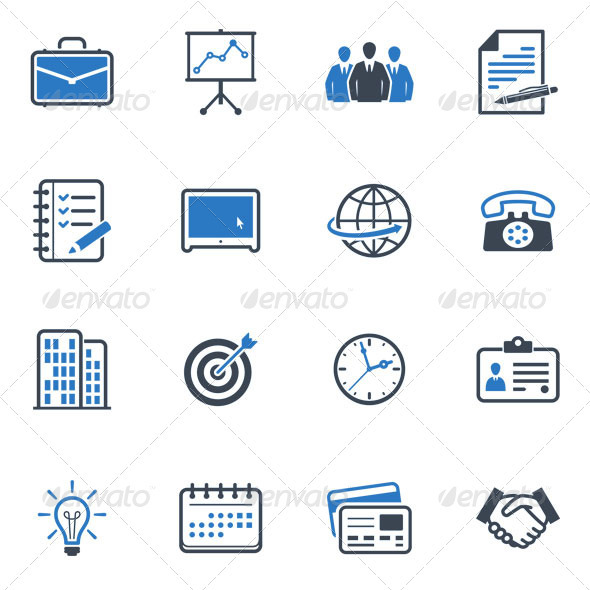 Business and Office Icons -  Blue Series  - Business Icons