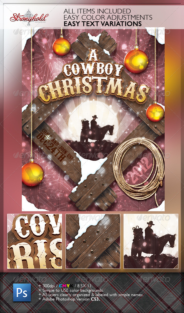 GraphicRiver Vintage Cowboy Christmas Flyer Template 3411802