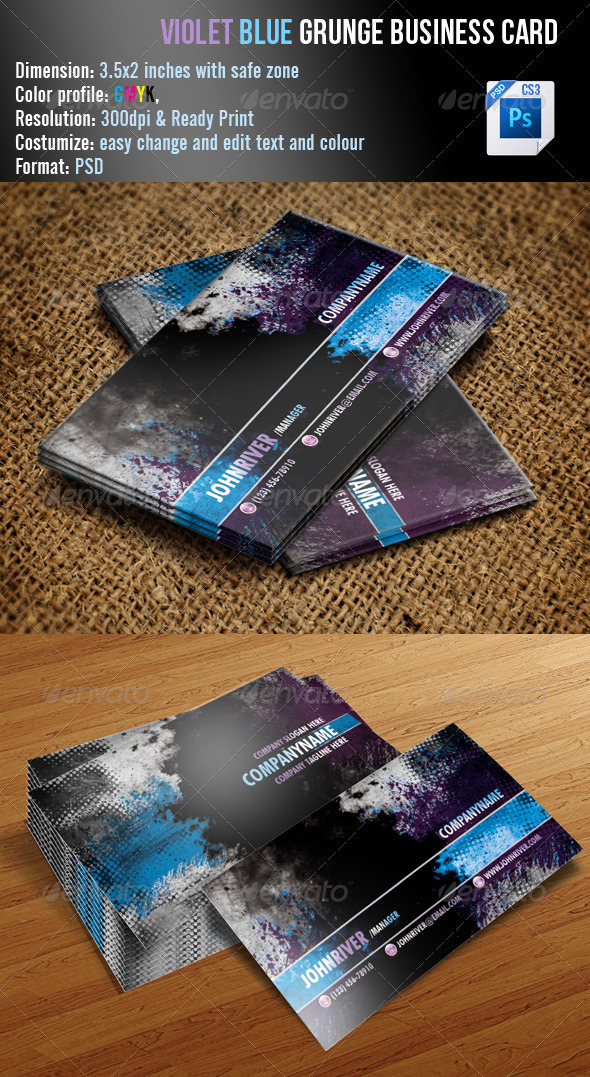 Violet Blue Grunge Business Card - Grunge Business Cards