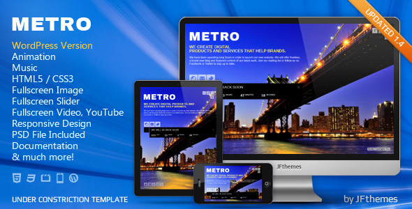 ThemeForest METRO Responsive Under Construction Template 3210245