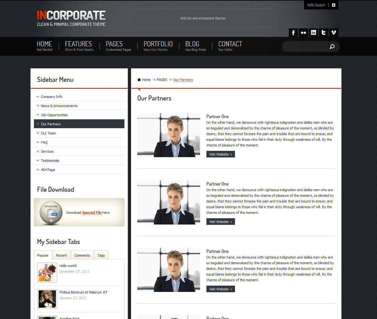 Incorporate WordPress Template - Partners Page