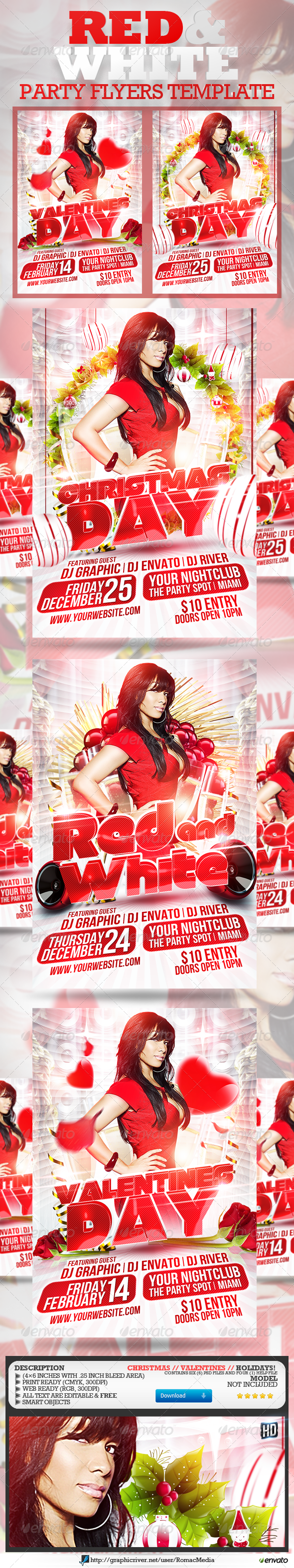 Red and White Party Flyers - Clubs &amp; Parties Events
