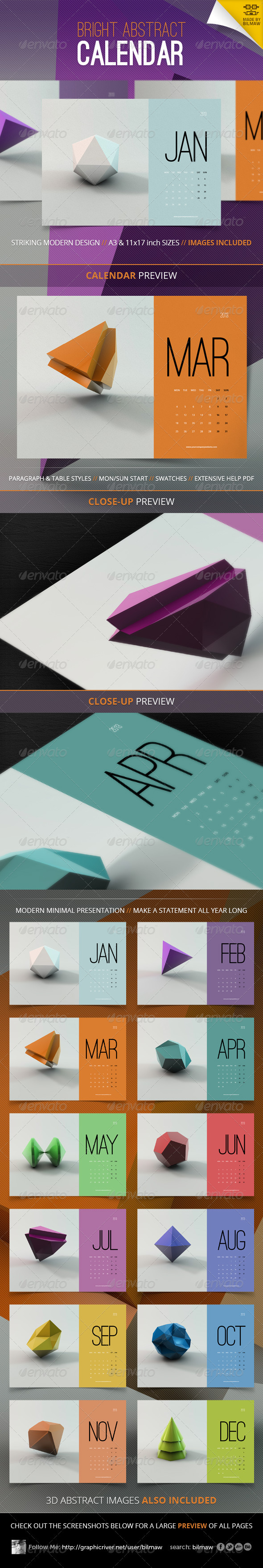 GraphicRiver Bright Abstract Calendar 3415060