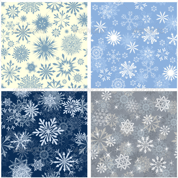 GraphicRiver Snowflake Seamless Pattern Set 3418249