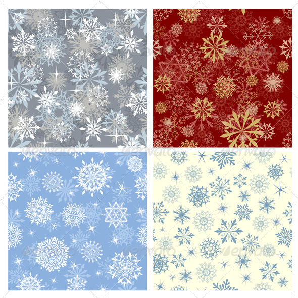 GraphicRiver Snowflake Seamless Pattern Set 3418252