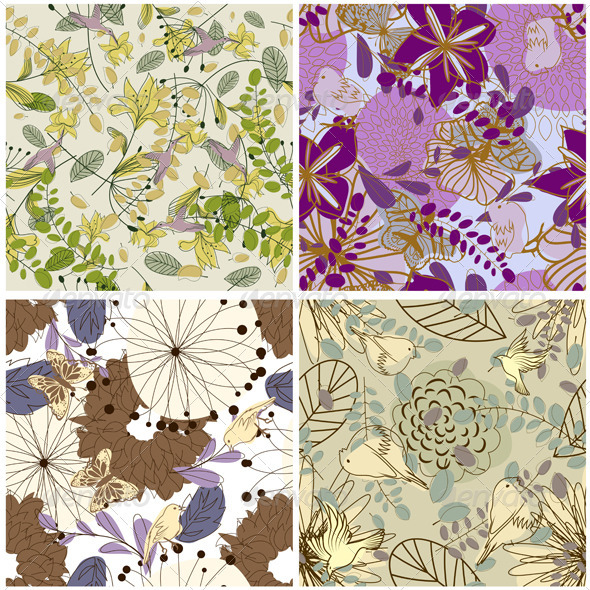 GraphicRiver Floral Seamless Pattern Set 3418259