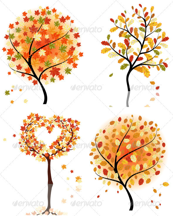 GraphicRiver Set of Four Autumn Trees 3418283