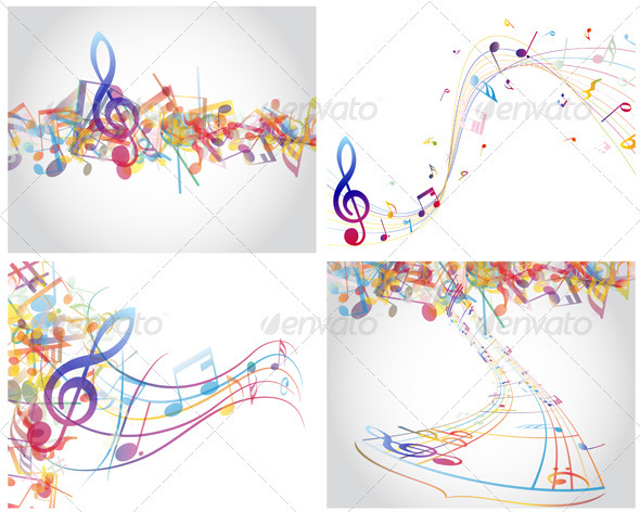 GraphicRiver Multicolour Musical Set 3418318