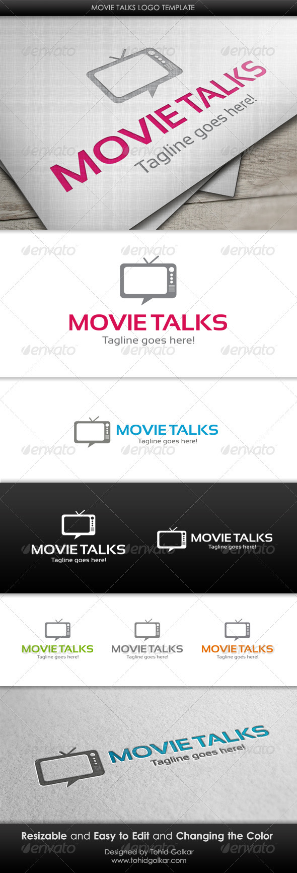 GraphicRiver Movie Talks Logo Template 3418332