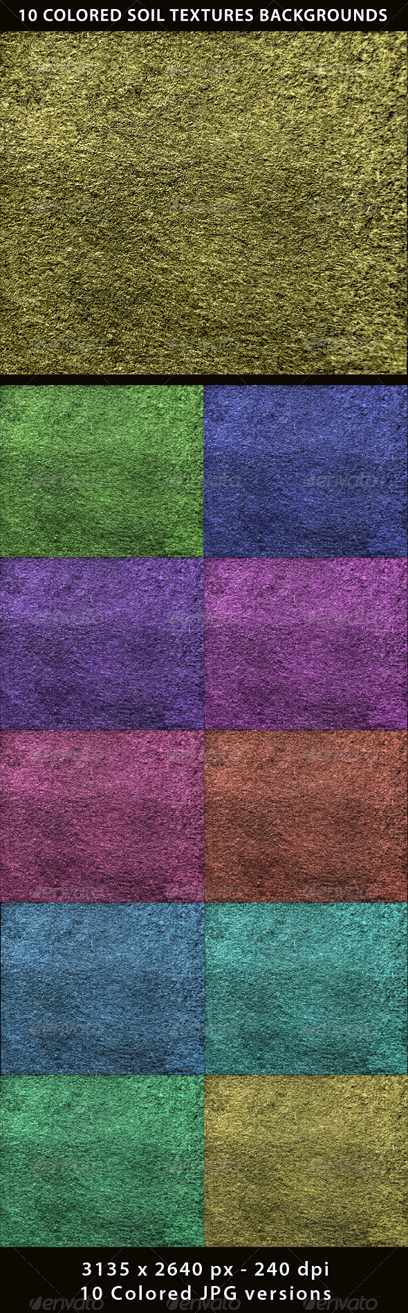 10 Colored Soil Texture Backgrounds - Nature Textures