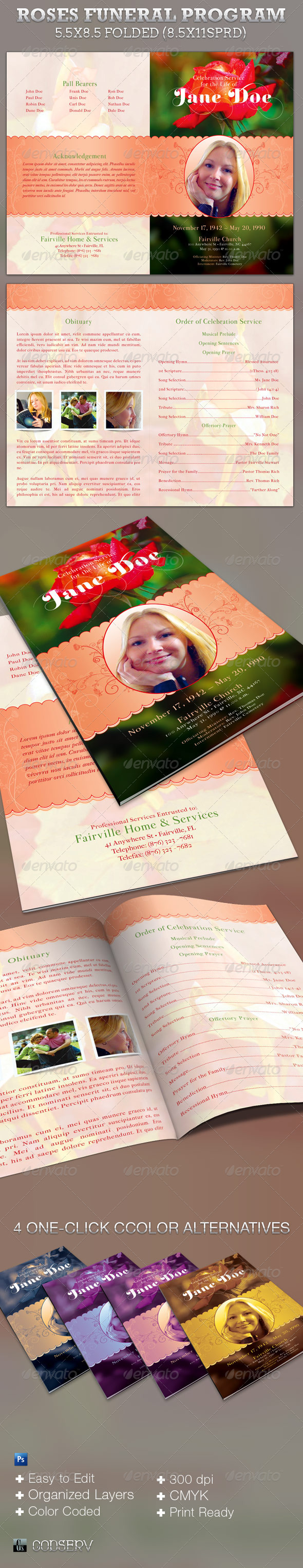 Roses Funeral Program Template - Informational Brochures